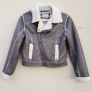 JUSTICE Silver Asymmetrical Moto Jacket  (8/10)